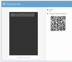 """Programmoberfläche von Actionbound für """"Code scannen"""""""