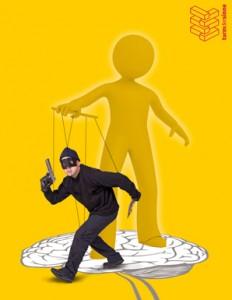Titelbild des turmdersinne-Symposiums 2011, Bild zeigt einen Verbrecher als Marionette seines Gehirns